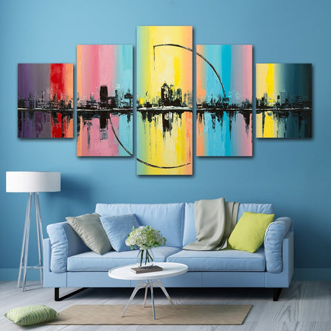 Colorful City View 5 Piece Canvas