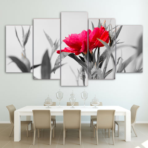 Geum Red Flower 5 Piece Canvas