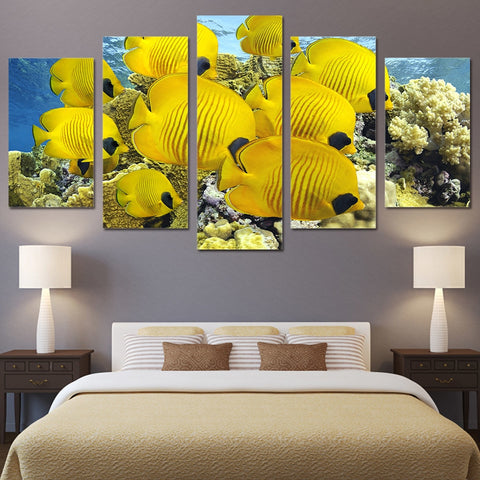 Coral Marine Fish 5 Piece Canvas