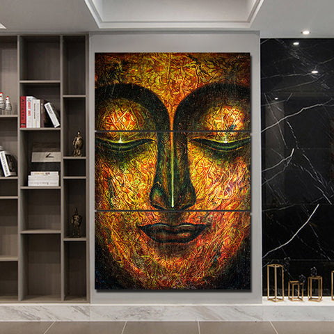 Abstract Face Buddha 3 Piece Canvas