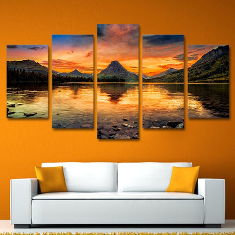 Sunset Lake View 5 Piece Canvas