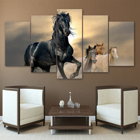 Black Lead the Running Horses 5 Piece Canvas