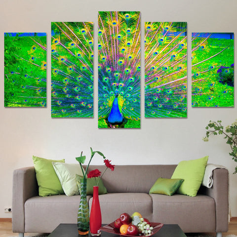 Peacock Open Green 5 Piece Canvas