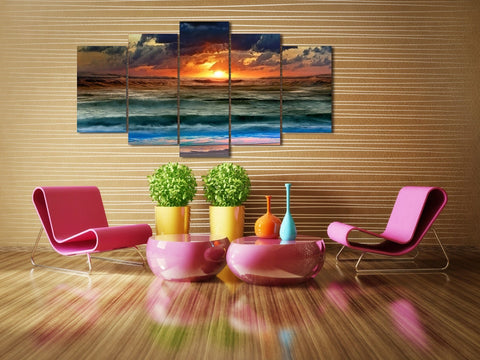 Sea Sunset Waves 5 Piece Canvas