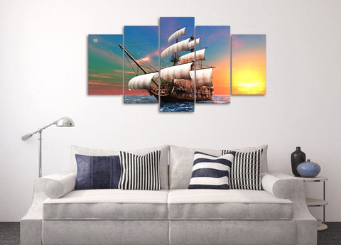 Sailboat Dawn the Sea 5 Piece Canvas
