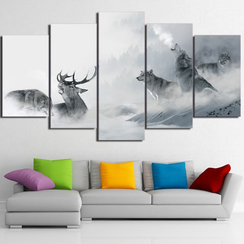 White Howling Wolf Group Deer 5 Piece Canvas