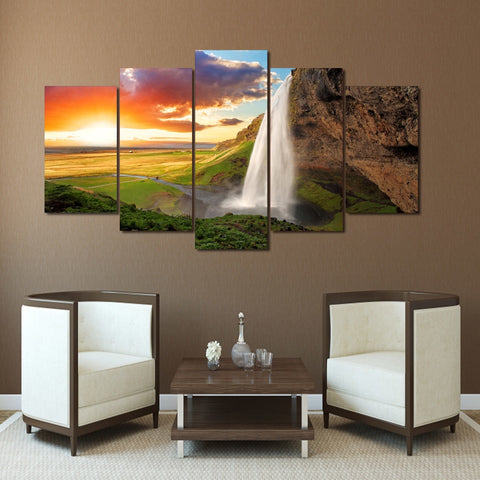 Sunset Waterfall 5 Piece Canvas
