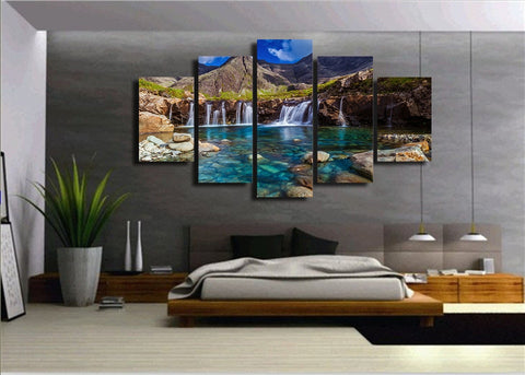 Mountain Waterfall 5 Piece Canvas