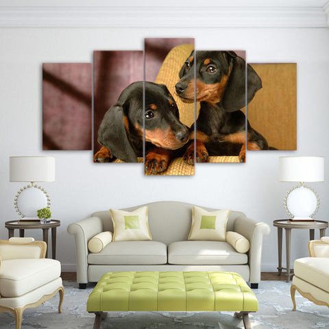 Dachshund Dog 5 Piece Canvas
