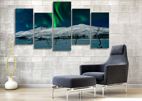 Green Aurora & Snow Mountain 5 Pieces Canvas