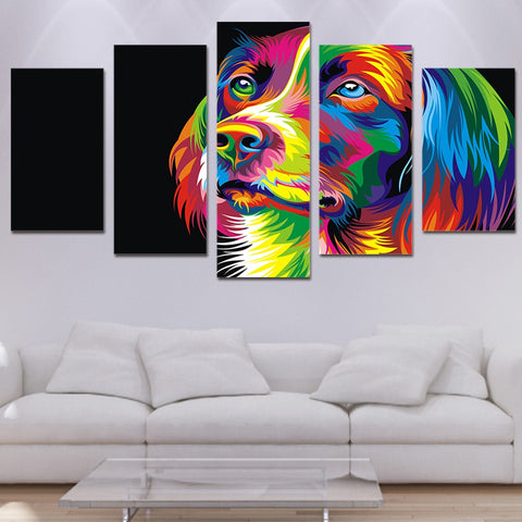 Colorful Dog 5 Piece Canvas