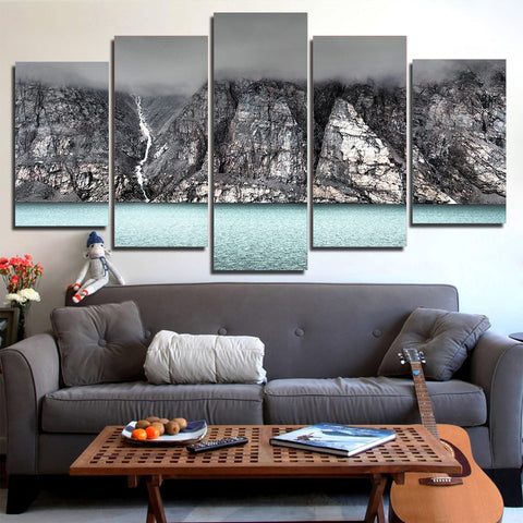 Black and White Volcanic Mountain 5 Piece Canvas