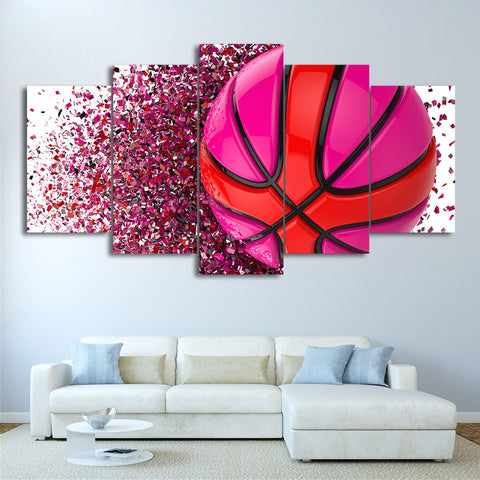 Pink Basketball 5 Piece Canvas