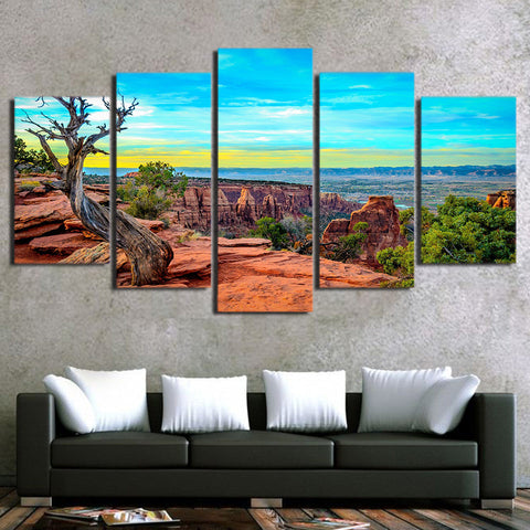 Red Rock Mountain View 5 Piece Canvas