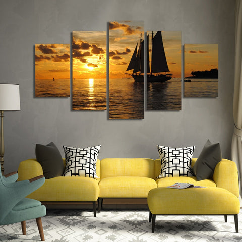 West Vessel Sailing Sea 5 Piece Canvas