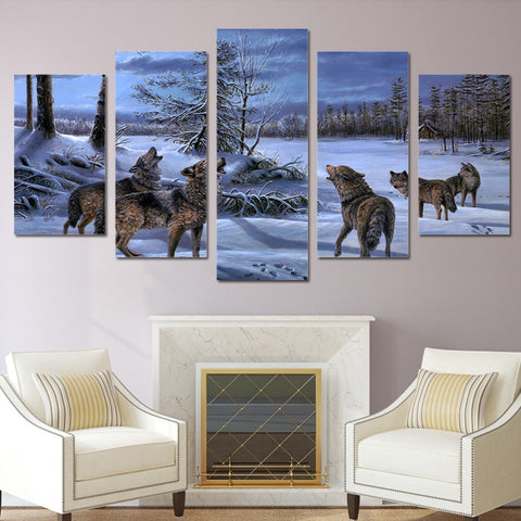 Howling Winter Wolves 5 Piece Canvas