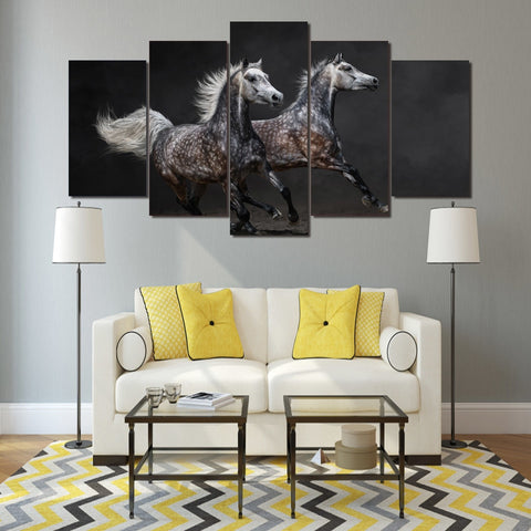 Galloping Grey Black Horses 5 Piece Canvas