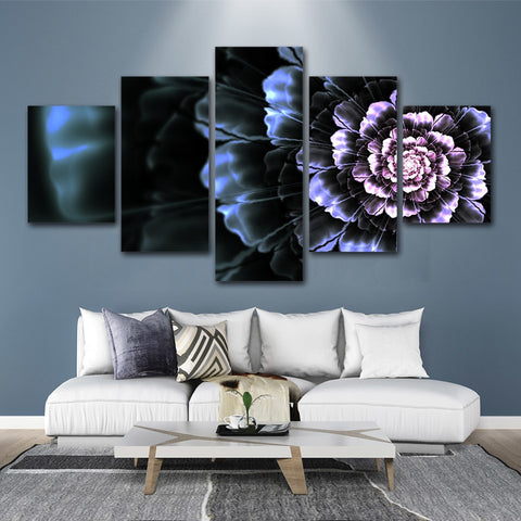 Black Flower Blossom 5 Piece Canvas