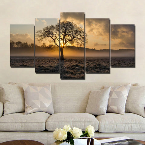 Tenacious Tree with Morning Sunlight 5 Piece Canvas