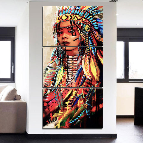 Native American Indian with Colored Feather 3 Piece Canvas