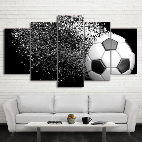 Football Black and White Disintegration 5 Piece Canvas