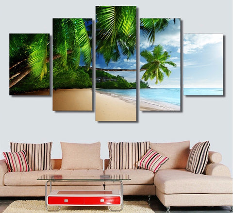 Sky Sunshine Blue Beach 5 Piece Canvas