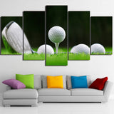 White Golf Balls and Club 5 Piece Canvas