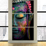 Half Colored Face Buddha 3 Piece Canvas