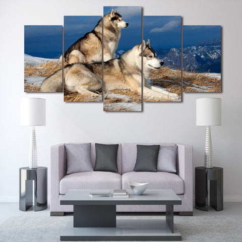 Snowy Dogs 5 Piece Canvas