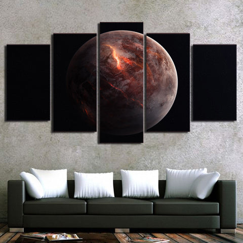 Lonely Black Planet 5 Piece Canvas