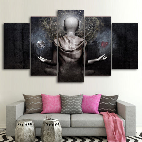 Meditating Buddha with Earth and Heart 5 Piece Canvas