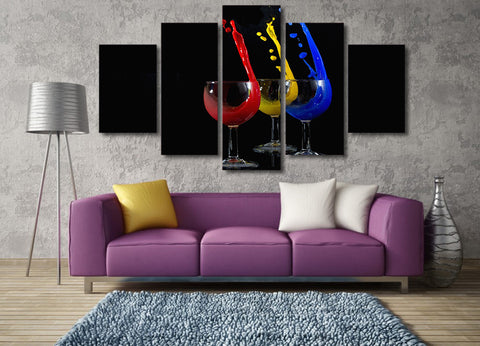 Red, Yellow, Blue Drinks 5 Piece Canvas