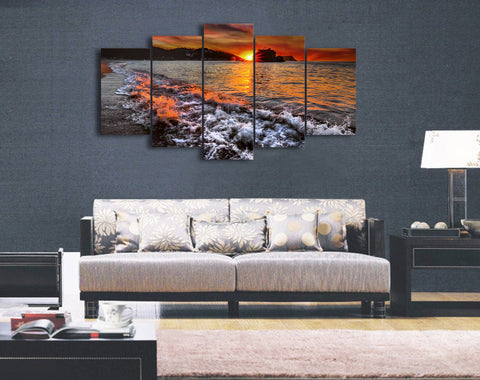 Beach Sea Sunset 5 Piece Canvas