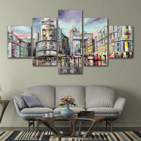 Modern City Rainy View 5 Piece Canvas