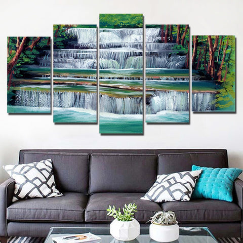 Spring Waterfall 5 Piece Canvas