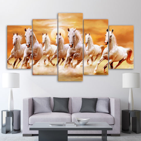 Horses Morning warm-up 5 Piece Canvas