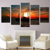 Ocean Boat Sunset Clouds 5 Piece Canvas