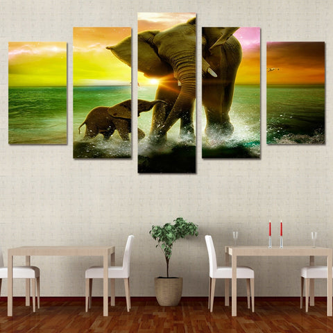Elephant Family 5 Piece Canvas