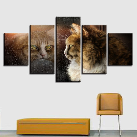 Window Cute Cat 5 Piece Canvas