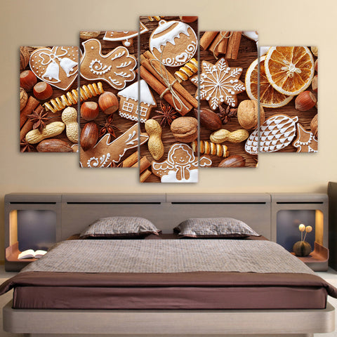Christmas Chocolate Cookies 5 Piece Canvas