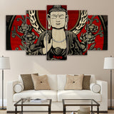 Retro Colorful Buddha 5 Piece Canvas