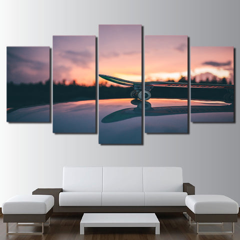 Skateboard and Sunset 5 Piece Canvas