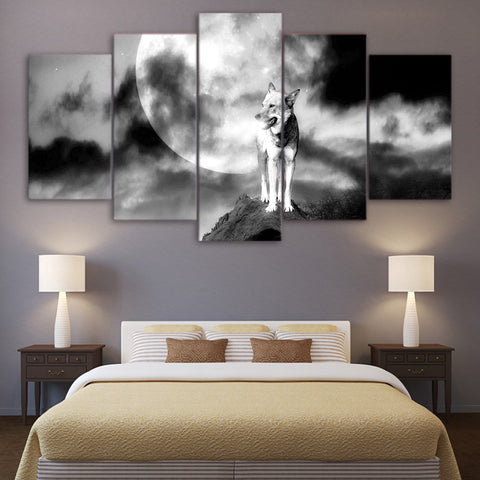 White Black Wolf Moon 5 Piece Canvas