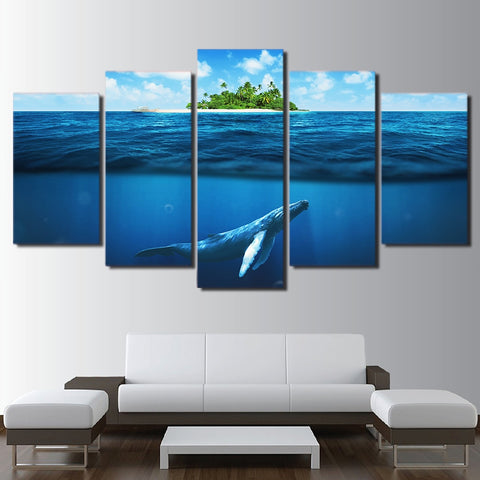 Blue Whale Deep Ocean 5 Piece Canvas
