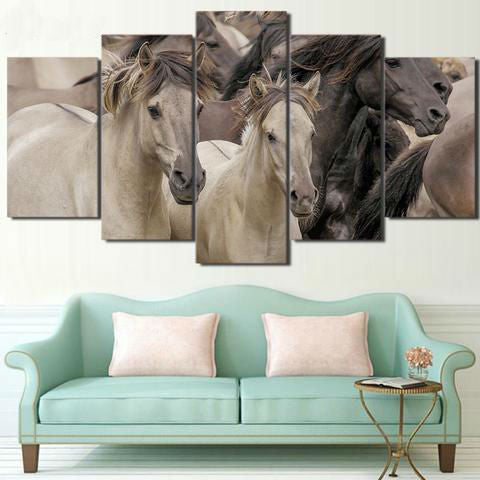 Black and White Horses 5 Piece Canvas