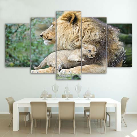 African Lion Mother and Child 5 Piece Canvas