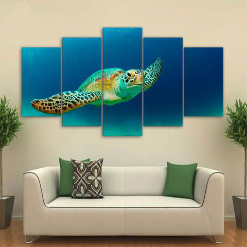 Ocean Green Turtle 5 Piece Canvas