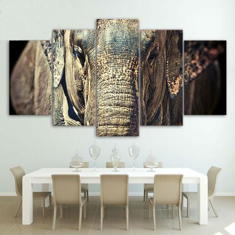 Elephant Close-up Face 5 Piece Canvas