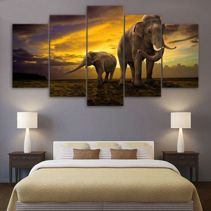 Elephants Walking under Sunset 5 Piece Canvas