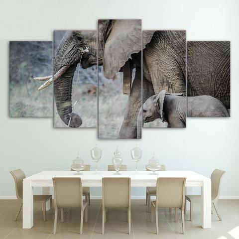 Elephants Walk Young Trunk Tusks 5 Piece Canvas